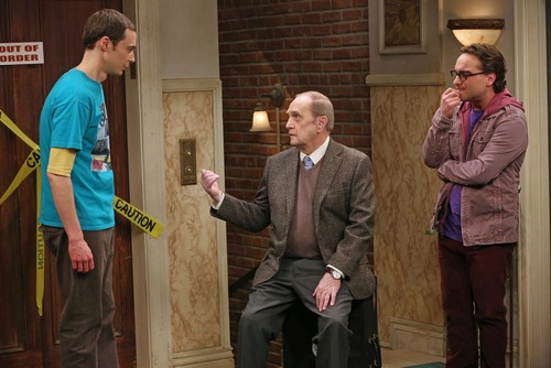 "Sheldon (Jim Parsons, left) and Leonard (Johnny Galecki, right) hire Professor Proton (Guest Star Bob Newhart, center), the host of their favorite childhood TV show, to perform, on ""The Big Bang Theory."" Courtesy photo"