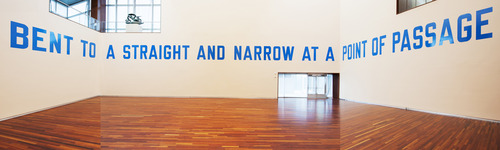 "Courtesy UMFA Conceptual artist Lawrence Weiner's 1976 ""language sculpture,"" titled ""BENT TO A STRAIGHT AND NARROW AT A POINT OF PASSAGE"" has been installed at the Utah Museum of Fine Art. (copyright 2013 Lawrence Weiner / Artists Rights Society (ARS), New York)"