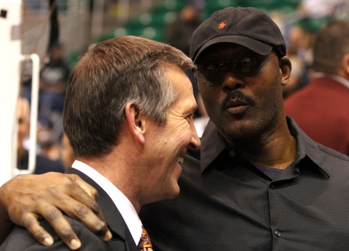 Rick Egan  | The Salt Lake Tribune   Jeff Hornacek chats with Karl Malone, before the Jazz, Spurs game in Salt Lake City, Monday, February 20, 2012.