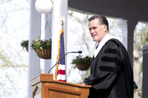 "Courtesy Southern Virginia University Mitt Romney speaks at Southern Virginia University on Saturday in Buena Vista, Va., where he urged graduates to ""launch into the deep"" and get out of their comfort zone."