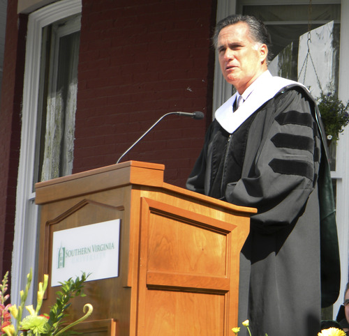 AP photo Former Massachusetts governor and 2012 Republican presidential candidate Mitt Romney delivers the commencement address at Southern Virginia University on Saturday, April 27, 2013, in Buena Vista, Va.