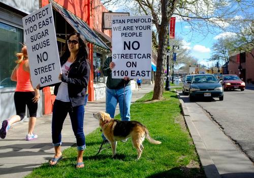 Trent Nelson  |  The Salt Lake Tribune Lee Chase was among opponents to the 1100 East extension of the Sugar House Streetcar protesting Wednesday, May 1, 2013 in Salt Lake City.