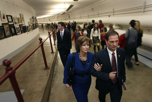 Scott Sommerdorf   |  The Salt Lake Tribune Congressman-elect Chris Stewart, R-Utah, along with his wife, Evie and his family walk through the labyrinth of hallways of the Capitol building on their way to Stewart's swearing-in, Thursday, January 3, 2013.
