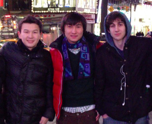 This undated photo added on April 18, 2013 to the VK page of Dias Kadyrbayev shows, from left, Azamat Tazhayakov and Dias Kadyrbayev, from Kazakhstan, with Boston Marathon bombing suspect Dzhokhar Tsarnaev in Times Square in New York. Kadyrbayev and Tazhayakov, two college buddies of Tsarnaev, were jailed by immigration authorities the day after Tsarnaev's capture.  (AP Photo/VK)