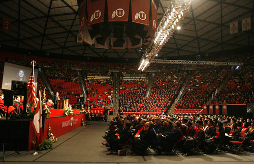 "Rick Egan  | The Salt Lake Tribune   Elizabeth ""Liz"" Murray gives the Commencement address at the University of Utah Graduation, at the Huntsman Center, Thursday, May 2, 2013."