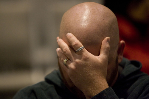 Kim Raff  |  The Salt Lake Tribune Shawn Sellers prays Thursday during a worship service for the 62nd National Day of Prayer at Calvary Chapel of Salt Lake. The event featured live-streaming video from the National Day of Prayer event, a free breakfast and a worship service.