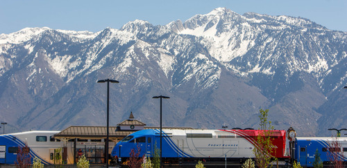Trent Nelson  |  The Salt Lake Tribune UTA's FrontRunner commuter train pulls into the South Jordan Station Thursday, May 2, 2013.