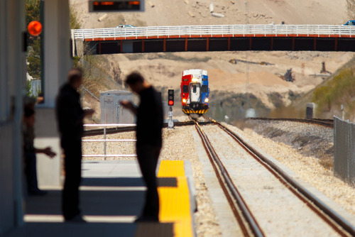 Trent Nelson     The Salt Lake Tribune UTA's FrontRunner commuter train pulls into the Lehi Station Thursday, May 2, 2013 in Lehi.