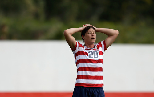 Abby Wambach, of the US woman's soccer team, reacts during their Algarve Cup match with Iceland Wednesday, March 6 2013, in Albufeira, southern Portugal. (AP Photo/Armando Franca)