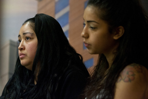 Chris Detrick  |  The Salt Lake Tribune Johana Portillo, left, and her sister Ana Portillo talk about their dad, Ricardo Portillo, during a press conference at Intermountain Medical Center in Murray Thursday, May 2, 2013. Portillo died Saturday night, May 4.