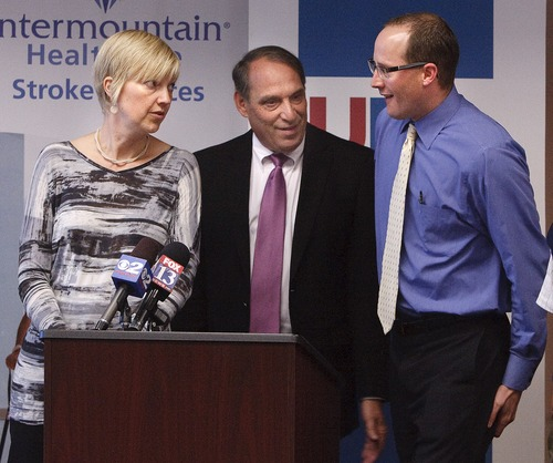Leah Hogsten  |  The Salt Lake Tribune Rod Betit, president an CEO of the Utah Hospital Association, is flanked by Jennifer Majersik, director of University Hospital's stroke center, and Kevin Call, of the Intermountain Medical Center, at a news conference Thursday. They fielded questions about their respective hospitals' policies in treating stroke victims.