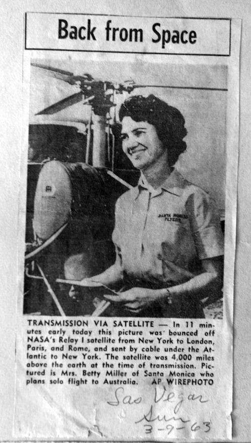 Photo courtesy of Betty Miller Betty Miller was the first woman to fly solo across the Pacific Ocean. This month marks the 50th anniversary of her historic flight.