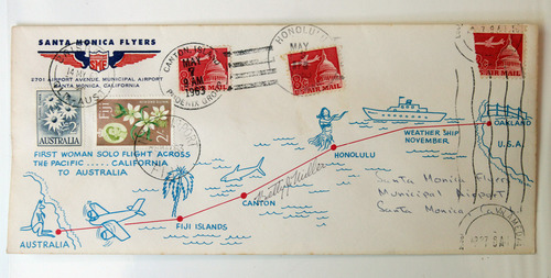 Photo courtesy of Betty Miller Betty Miller's historic 1963 flight is captured on an envelope.