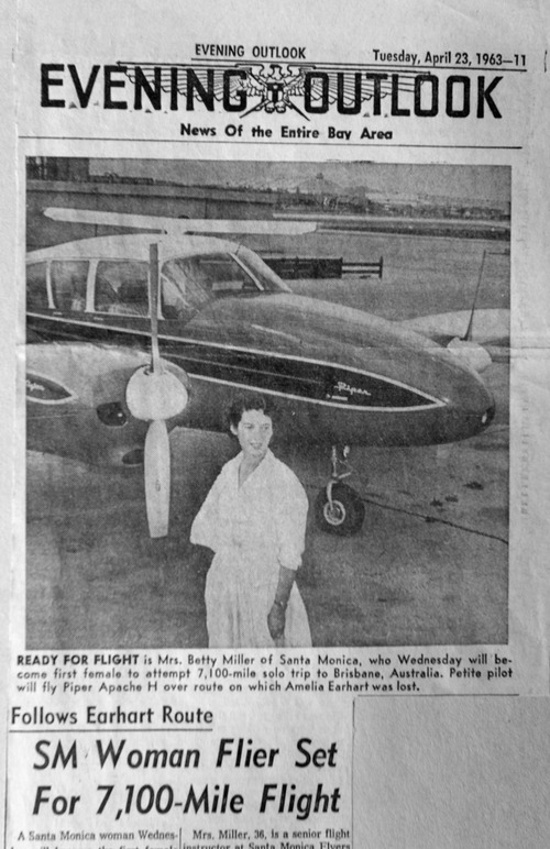 Photo courtesy of Betty Miller News story about Betty Miller, who was the first woman to fly solo across the Pacific Ocean in 1963.