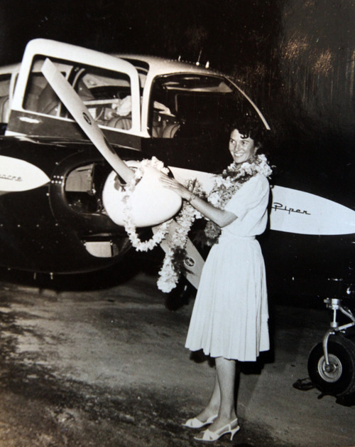 Photo courtesy of Betty Miller Betty Miller lands in Hawaii during her historic flight in 1963. This month marks the 50th anniversary of her solo flight across the Pacific Ocean.