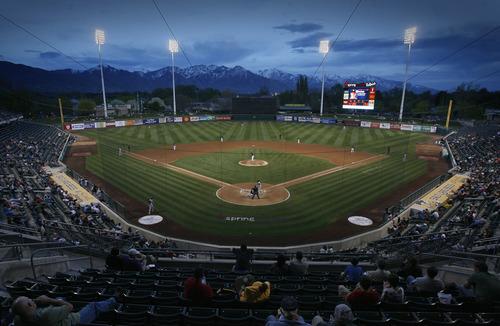 Rick Egan  | The Salt Lake Tribune  The Salt Lake Bee's baseball action at Spring Mobile Ball Park, Monday, April 29, 2013