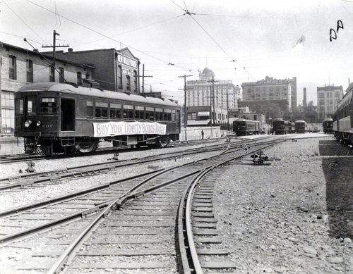 (Salt Lake Tribune Archives)  Trolley to Lagoon from Salt Lake. The old Hotel Utah, currently the Joseph Smith Memorial Building, can be seen in the background.