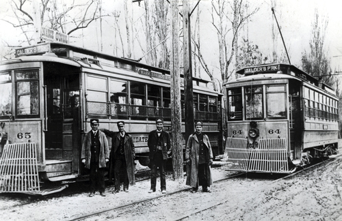 (Salt Lake Tribune Archives)  Salt Lake City trolleys in 1900 running from downtown to Calder's Park. Calder's Park was located in the area roughly between 1300 East and 900 East and 100 South and 400 South.