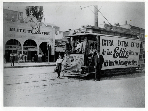 (Salt Lake Tribune Archives)  A trolley car is seen outside the Elite Theater in Salt Lake City. The theater was located between 300 and 400 South on State Street and operated from 1908-1912.