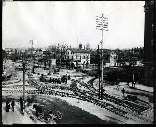 (Salt Lake Tribune Archives) Trolley lines are put in around the Brigham Young statue on Main Street in this undated photo.