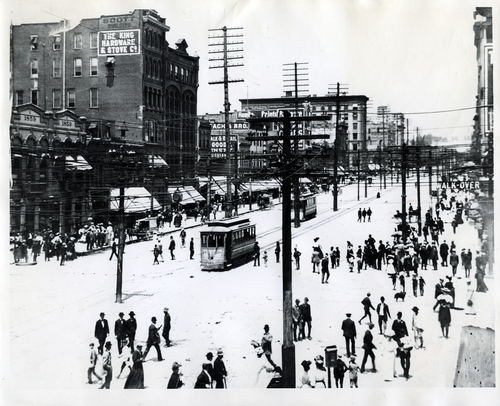(Salt Lake Tribune Archives)  A trolley car is seen on Main Street in this undated photo.