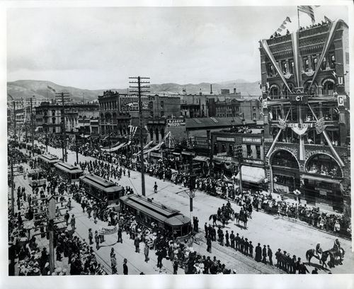 (Salt Lake Tribune Archives) Trolley lines are put in along Main Street in this undated photo.