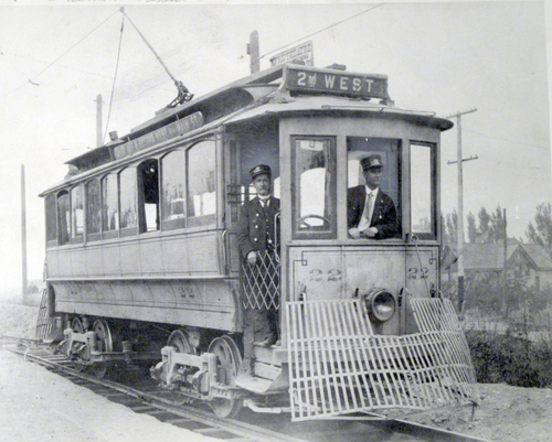 (Salt Lake Tribune Archives) Residents of the southwest and northeast extremes of the city rode this old street car. The Temple block was the center point on the route, which ran north from 900 South on 200 West, east on South Temple to E. Street, north to 3rd Avenue and then east to Virginia Street. Harry Horsley was the conductor.