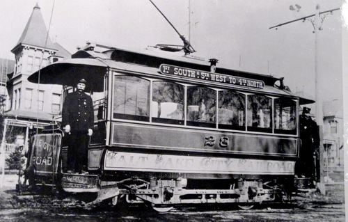 (Salt Lake Tribune Archives)  Around 1900, this trolley operated on 500 West between 100 South and 400 North.