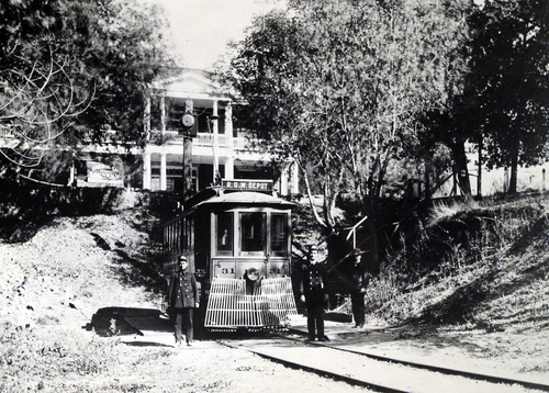 (Salt Lake Tribune Archives) A nickel was the fare to ride this trolley from Ft. Douglas all the way downtown in 1900. The gong on the power pole in the rear was to call passengers before the trolley left. Conductor Adam Baker and motorman Donald H. Major are pictured.