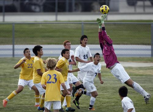 Chris Detrick  |  The Salt Lake Tribune Taylorsville's Kellar Sirstins (1) makes a save during the game at Hunter High School Friday May 3, 2013.