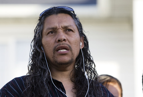 Kim Raff  |  The Salt Lake Tribune Antonio Lopez, brother-in-law of soccer referee Ricardo Portillo, talks at a news conference Sunday in Salt Lake City.
