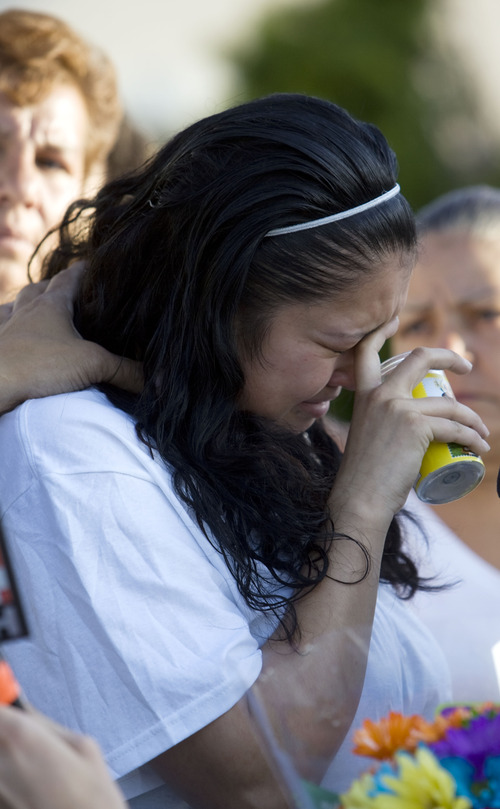 Kim Raff  |  The Salt Lake Tribune Johana Portillo-Lopez, daughter of Ricardo Portillo, becomes emotional as she speaks Sunday about her father's death. The volunteer soccer referee died Saturday of injuries he sustained when police say a player punched him in the head during a game.