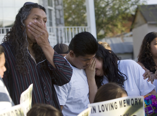 Kim Raff  |  The Salt Lake Tribune Antonio Lopez, left, Juan Munoz and Johana Portillo-Lopez, daughter of Ricardo Portillo, become emotional after a news conference in Salt Lake City on May 5, 2013. Portillo died Saturday a week after police say a teenage player punched him in the head during a game. Portillo spent nearly a week in a coma.