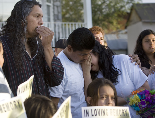 Kim Raff  |  The Salt Lake Tribune Antonio Lopez, left, Juan Munoz, and Johana Portillo-Lopez, daughter of Ricardo Portillo, become emotional after a news conference Sunday in Salt Lake City. Portillo died a week after police say a player punched him in the head during a game.