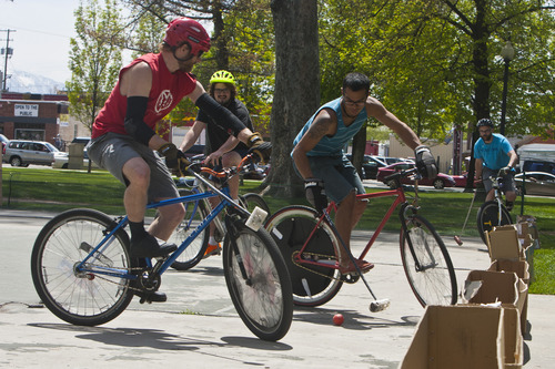 Chris Detrick  |  The Salt Lake Tribune A group plays bike polo during Salt Lake City's Open Streets Festival at Pioneer Park South Saturday May 4, 2013.