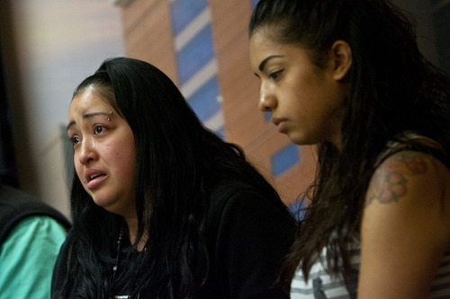 Chris Detrick  |  The Salt Lake Tribune Johana Portillo, left, and her sister Ana Portillo, talk about their dad Ricardo Portillo during a press conference at Intermountain Medical Center in Murray Thursday May 2, 2013. Portillo died Saturday night, May 4.