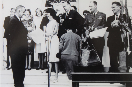 Courtesy of Betty Miller Betty Miller receives an award from President Lyndon Johnson. This month marks the 50th anniversary of her historic flight across the Pacific Ocean.