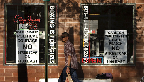 Leah Hogsten     The Salt Lake Tribune Some business owners and residents oppose a proposal to extend the Sugar House Streetcar north on 1100 East from 2100 South to 1700 South. Tuesday, April 30,2013.