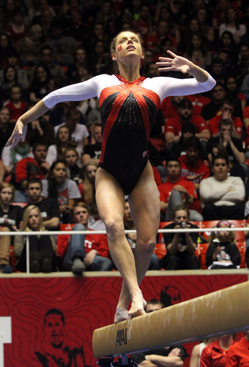 Rick Egan    The Salt Lake Tribune   Breanna Hughes competes on the Beam for the Ute's, in gymnastics action against The University of California, at the Huntsman Center, Saturday, February 9, 2013.