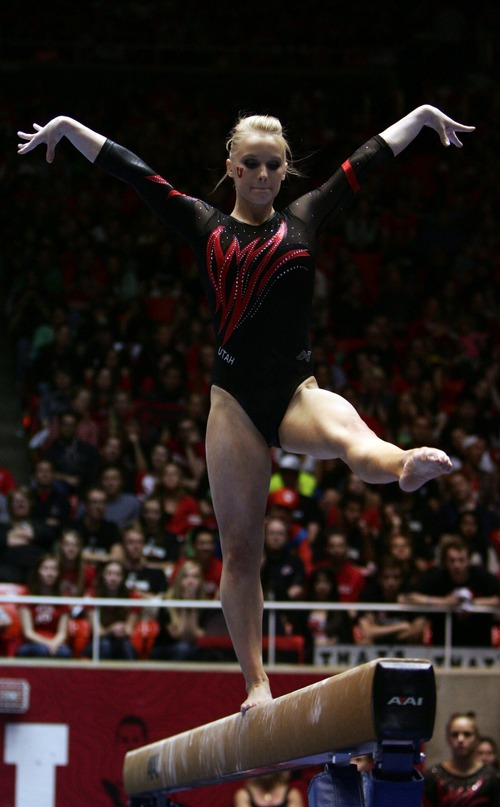 Kim Raff     The Salt Lake Tribune Utah gymnast Georgia Dabritz performs her routine on the beam during a meet against Florida at the Huntsman Center in Salt Lake City on March 16, 2013. Utah went on to beat Florida in the meet.