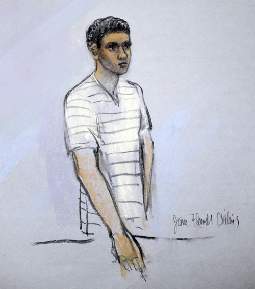 FILE - This courtroom sketch shows defendant Robel Phillipos appearing in front of Federal Magistrate Marianne Bowler at the Moakley Federal Courthouse in Boston, Mass. on Wednesday, May 1, 2013. Phillipos, and two other college friends of Boston Marathon bombing suspect Dzhokhar Tsarnaev, were arrested and charged with removing a backpack containing hollowed-out fireworks from Tsarnaev's dorm room. (AP Photo/Jane Flavell Collins)