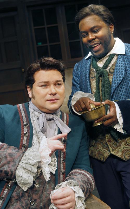 "Al Hartmann  |  The Salt Lake Tribune Utah Opera presents Rossini's comedy ""The Barber of Seville.""  Robert MacPherson as (Almaviva), left, and  Will Liverman as (Figaro)."