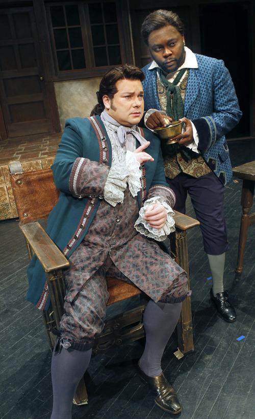 "Al Hartmann  |  The Salt Lake Tribune Utah Opera presents Rossini's comedy ""The Barber of Seville.""  Robert MacPherson as Almaviva, left, and  Will Liverman as Figaro."