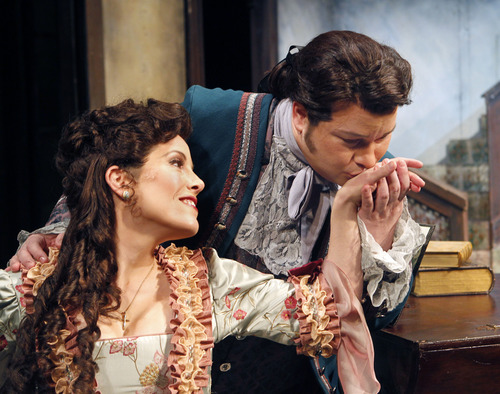 "Al Hartmann  |  The Salt Lake Tribune Utah Opera presents Rossini's comedy ""The Barber of Seville.""  Celena Shafer as Rosina and Robert MacPherson as Almaviva."