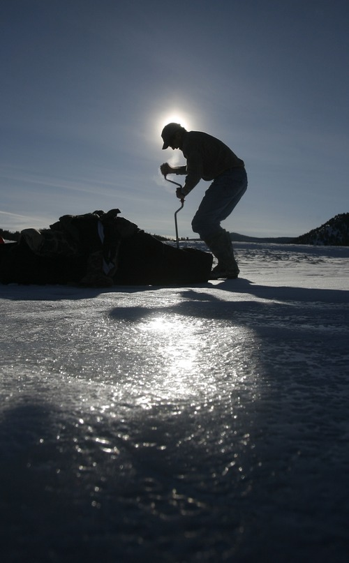 Rick Egan      The Salt Lake Tribune  Mickey Anderson drills a hole in the ice as he prepares to go ice fishing at Panguitch Lake,  Monday, January 4, 2010