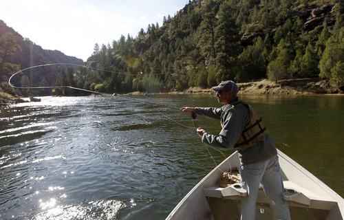 Al Hartmann     The Salt Lake Tribune  Ryan Mosley of Dutch John throws a fly hoping to catch a rainbow or brown trout while floating the Green River below Flaming Gorge Dam.