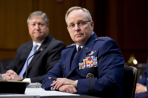 The Senate Armed Services Committee hears from top officials of the Air Force, Air Force Chief of Staff Gen. Mark A. Welsh III, right, and Secretary of the Air Force Michael B. Donley, left, during a hearing on Capitol Hill in Washington, Tuesday, May 7, 2013. Besides funding for next year's Pentagon budget, the Air Force is dealing with controversy over sexual assaults and how the military justice system handles it. (AP Photo/J. Scott Applewhite)