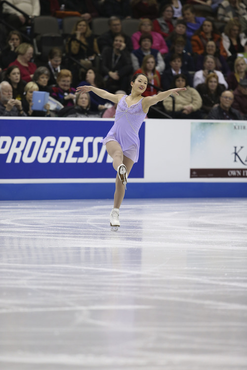 Salt Lake City's Angela Wang at the U.S. Figure Skating Championships earlier this year. The Salt Lake City native now trains in Colorado Springs, where she carries a perfect grade-point average at Cheyenne Mountain High School. Photo courtesy Jay Adeff/U.S. Figure Skating