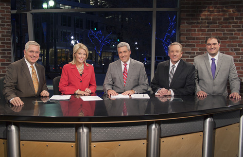 | Courtesy KUTV's 10 p.m. newscast features Sterling Poulson, Shauna Lake, Mark Koelbel, Dave Fox and Matt Gephardt.
