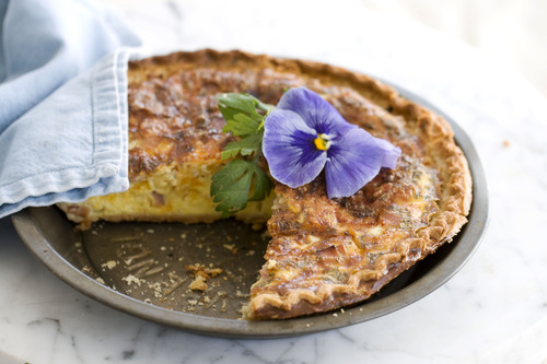 In this image taken on April 22, 2013, a ham and cheddar quiche for Mother's Day is shown in Concord, N.H. (AP Photo/Matthew Mead)